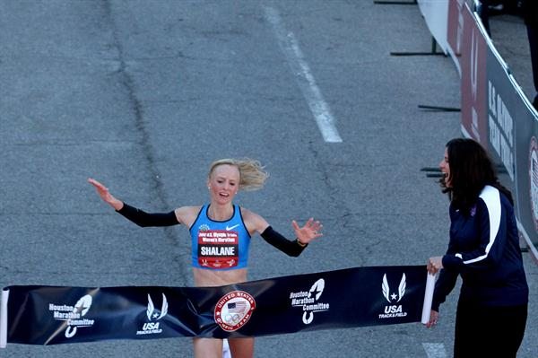 Shalane Flanagan wins the USA Olympic Marathon Trials in Houston (Getty Images)