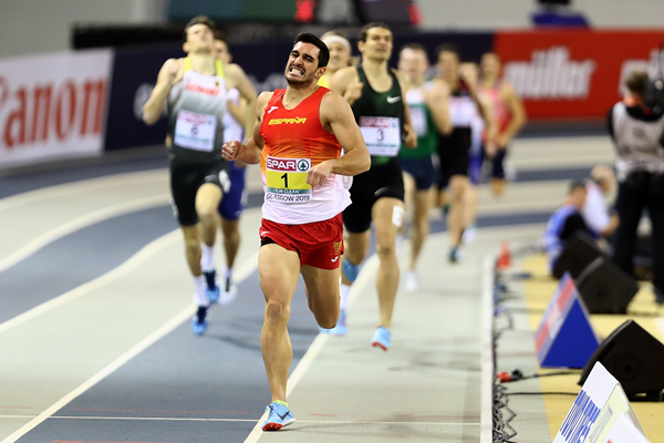 Jorge Urena in the heptathlon 1000m at the European Indoor Championships (Getty Images)