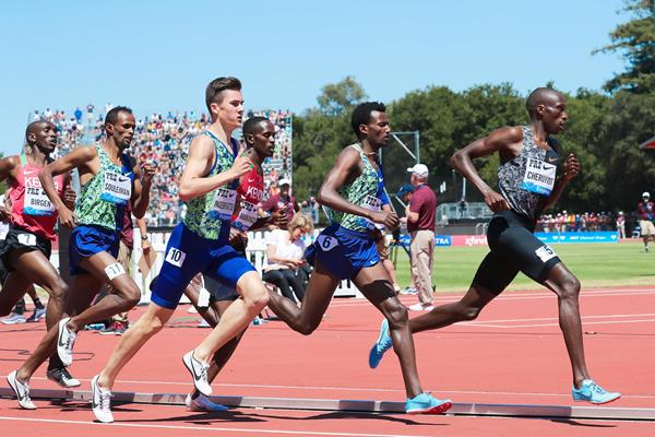 Timothy Cheruiyot on his way to winning the mile at the IAAF Diamond League meeting in Stanford (Victah Sailer)