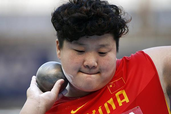 Gong Lijiao in the shot put at the IAAF World Championships (AFP / Getty Images)