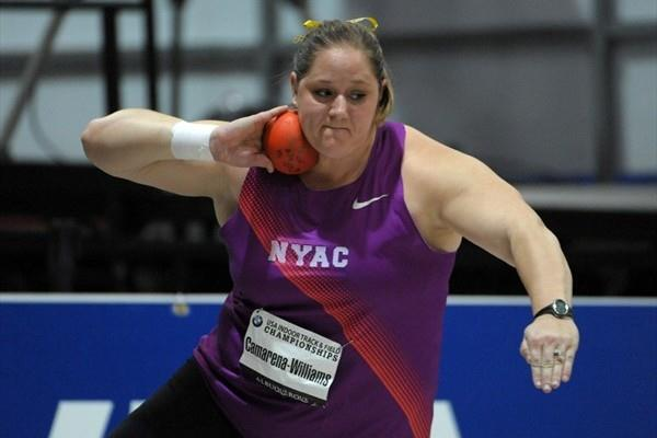 Jillian Camerena-Williams spinning to a 19.87m US indoor record in Albuquerque (Kirby Lee)