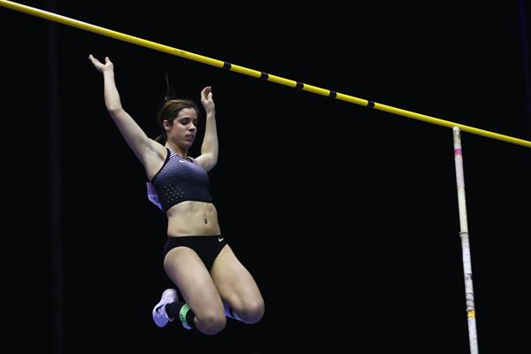 Ekaterini Stefanidi winning the pole vault at the Muller Indoor Grand Prix in Birmingham (Getty Images)