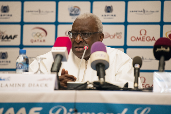 IAAF President Lamine Diack at the press conference ahead of the IAAF Diamond League meeting in Doha (DECA Text & Bild)
