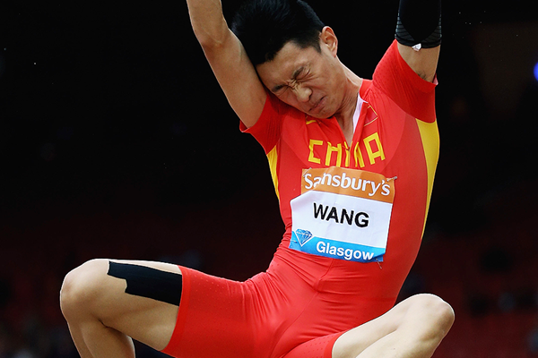 Wang Jianan in the long jump at the IAAF Diamond League meeting in Glasgow (Getty Images)