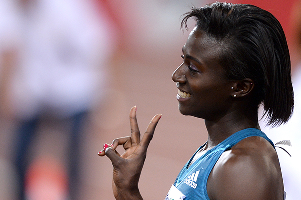 US sprinter Tori Bowie celebrates her victory (AFP / Getty Images)