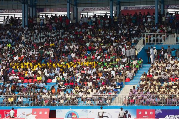 Near capacity crowd at Stephen Keshi Memorial Stadium in Abasa for the opening day of the 2018 African Championships (Bob Ramsak)