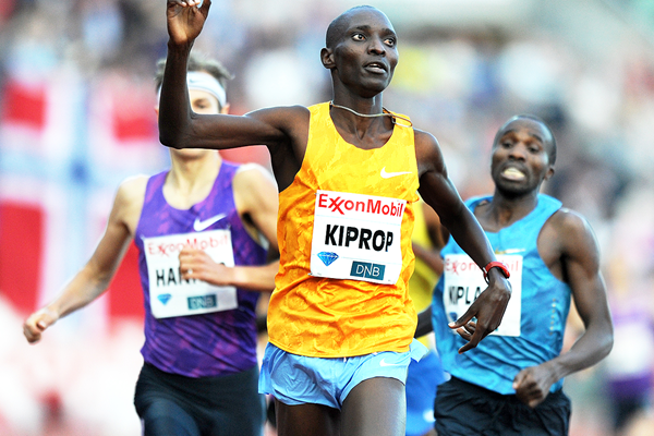 Asbel Kiprop wins the Dream Mile at the 2015 IAAF Diamond League meeting in Oslo (Mark Shearman)