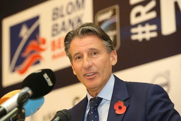 IAAF President Sebastian Coe at the 2016 Beirut Marathon pre-race press conference on 12 November (organisers)