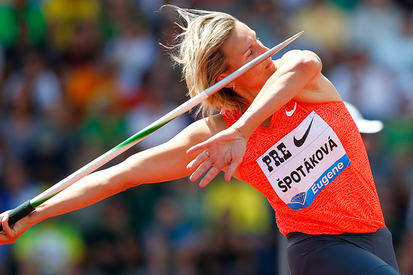 Barbora Spotakova in the javelin at the IAAF Diamond League meeting in Eugene (Getty Images)