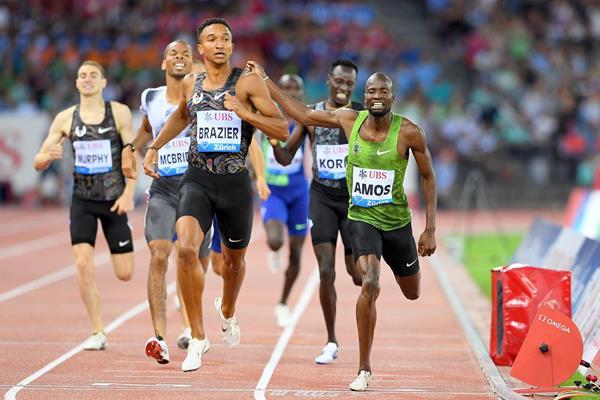 Donavan Brazier wins the 800m at the IAAF Diamond League final in Zurich (Jiro Mochizuki)