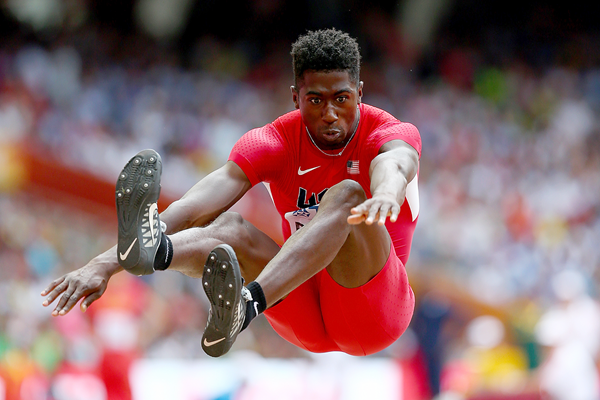 Marquis Dendy in the long jump at the IAAF World Championships (Getty Images)