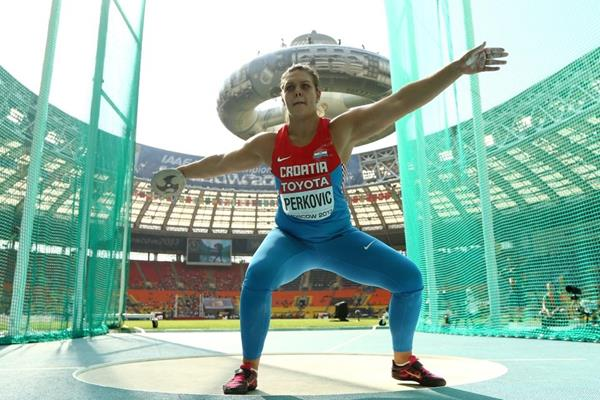 Sandra Perkovic in the women's Discus Throw at the IAAF World Athletics Championships Moscow 2013 (Getty Images)