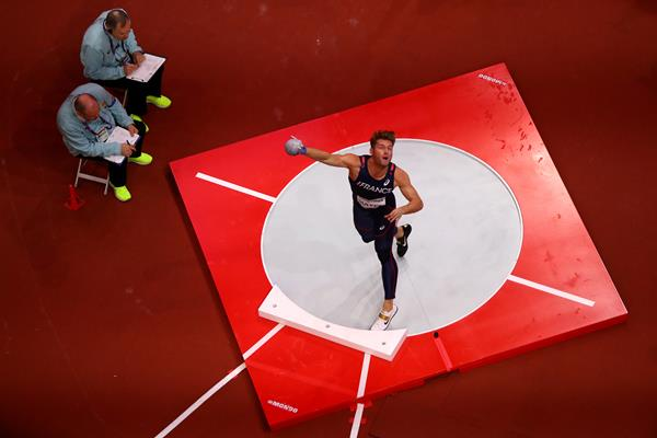 Kevin Mayer in the heptathlon shot put at the IAAF World Indoor Championships Birmingham 2018