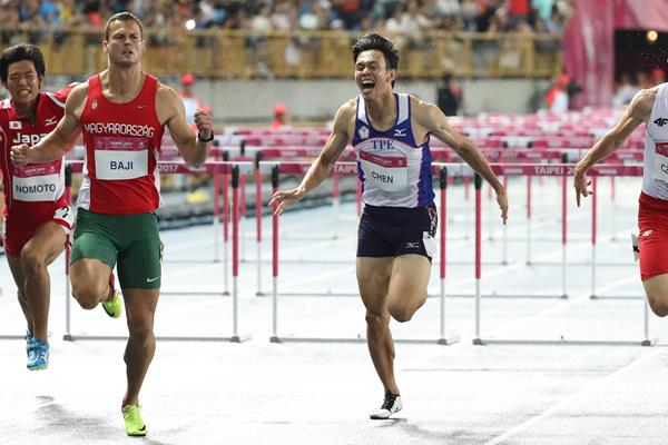 Balasz Baji of Hungary en route to the World University Games 110m hurdles title in Taipei City (Organisers)