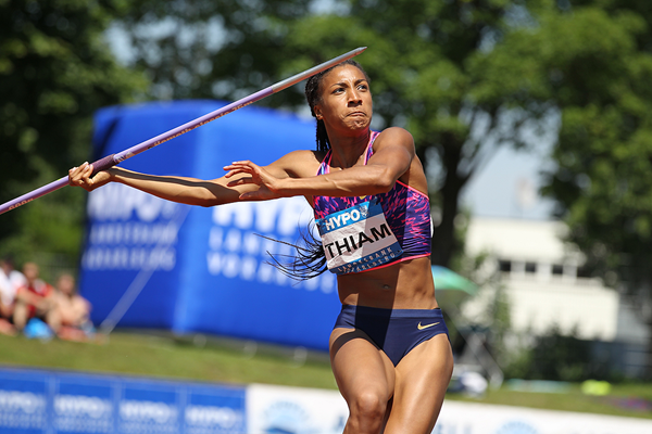 Nafissatou Thiam in the heptathlon javelin at the Hypo Meeting in Gotzis (Jean-Pierre Durand)