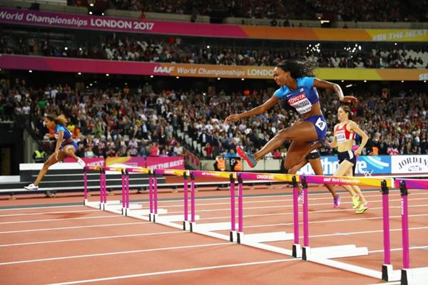 Homestretch of the women's 400m hurdles at the IAAF World Championships London 2017 (Getty Images)
