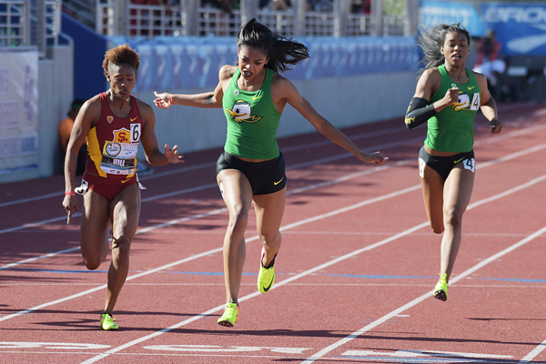 Deajah Stevens wins the 200m at the Mt SAC Relays (Kirby Lee)