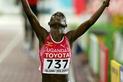 Dorcus Inzicuru of Uganda celebrates winning the women's 3000m Steeplechase (Getty Images)