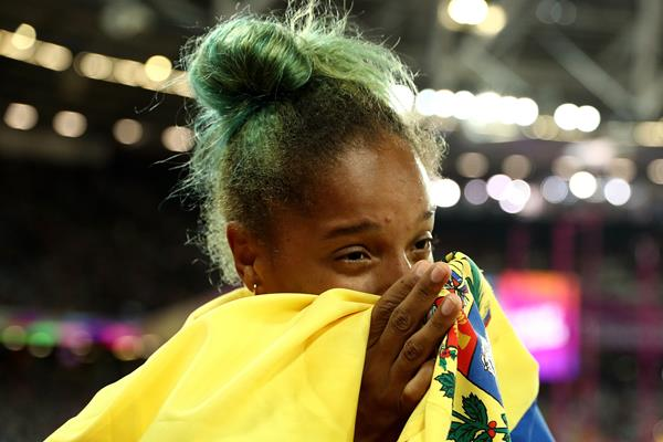 Yulimar Rojas after winning the triple jump at the IAAF World Championships London 2017 (Getty Images)