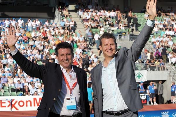 Seb Coe and Steve Cram at the 2010 Oslo Diamond League meeting (Mark Shearman)