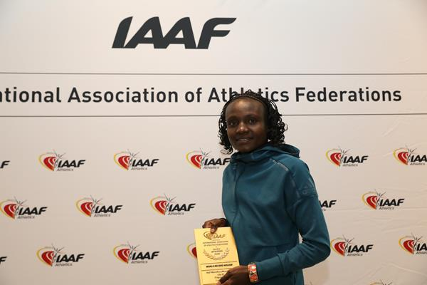 Joyciline Jepkosgei with her world record plaque in Monaco (Philippe Fitte)
