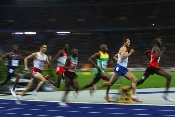 Olympic 1500m Champion Asbel Kiprop of Kenya leads the pack from former Olympic 800m Champion Yuriy Borzakovskiy of Russia in the 800m semi-final at the IAAF World Championships in the Berlin Olympic Stadium (Getty Images)