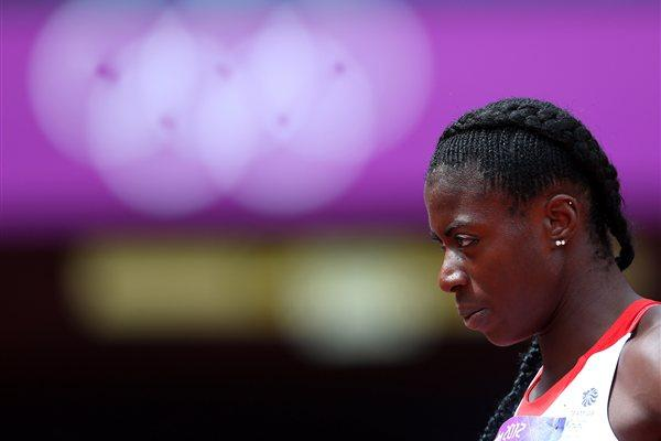 Christine Ohuruogu of Great Britain prepares to compete in the Women's 400m Heats on Day 1 of the London 2012 Olympic Games at Olympic Stadium on August 3, 2012 (Getty Images )