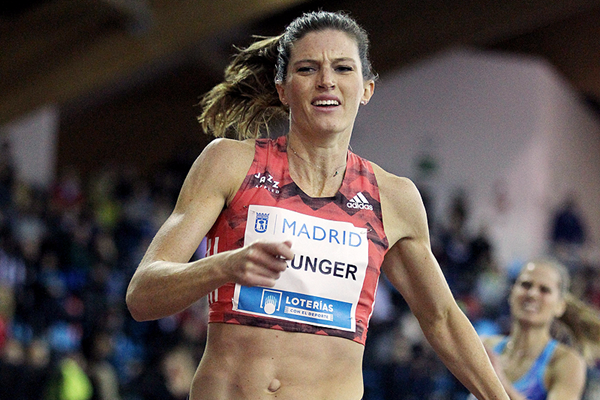 Lea Sprunger on her way to winning the 400m at the IAAF World Indoor Tour meeting in Madrid (Jean-Pierre Durand)