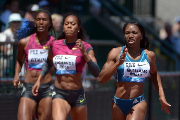 Novlene Williams-Mills winning at the 2014 IAAF Diamond League meeting in Eugene (Kirby Lee)