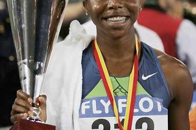Sherone Simpson (JAM) after her 100m triumph in Rome (Getty Images)
