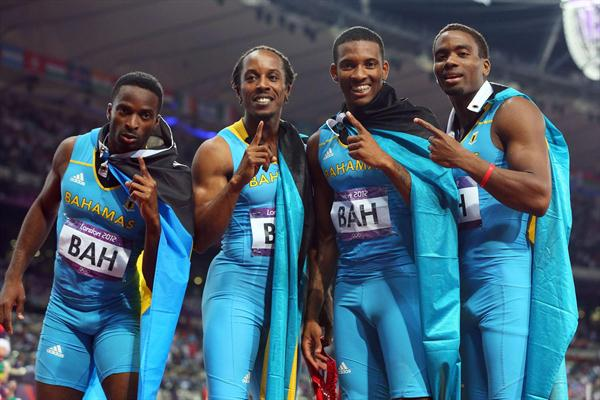 Chris Brown of the Bahamas, Demetrius Pinder of the Bahamas, Michael Mathieu of the Bahamas and Ramon Miller of the Bahamas celebrate winning gold in the Men's 4 x 400m Relay Final on Day 14 of the London 2012 Olympic Games at Olympic Stadium on August 10, 2012  (Getty Images)