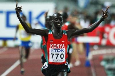 Brimin Kiprop Kipruto of Kenya wins the Men's 3000m Steeplechase Final (Bongarts/Getty Images)
