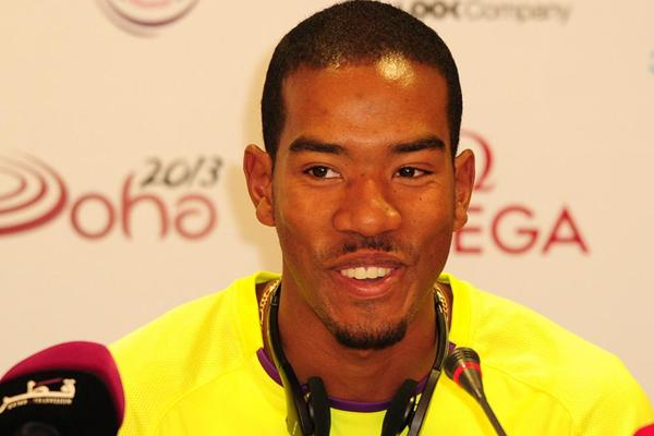 Christian Taylor at the Doha 2013 Diamond League press conference (Errol Anderson)