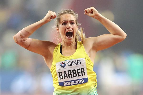 Kelsey-Lee Barber celebrates her javelin victory at the IAAF World Athletics Championships Doha 2019 (Getty Images)