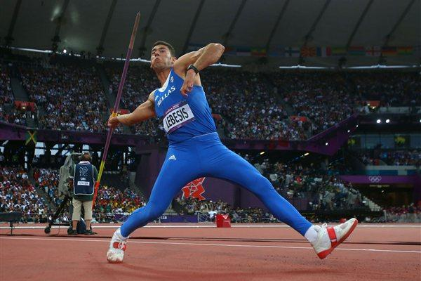 Spiridon Lebesis of Greece competes during the Men's Javelin Throw Final  of the London 2012 Olympic Games  on August 11, 2012 (Getty Images)