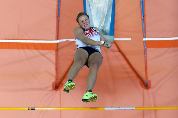 Britain's Holly Bleasdale wins the Pole Vault at the European Indoor Championships in Gothenburg (Getty Images)
