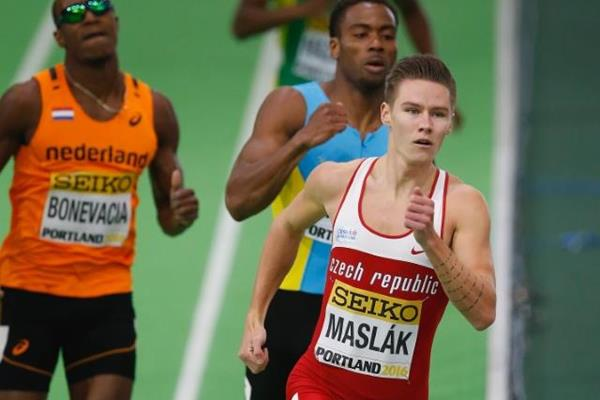 Pavel Maslak in the 400m at the IAAF World Indoor Championships Portland 2016 (Getty Images)