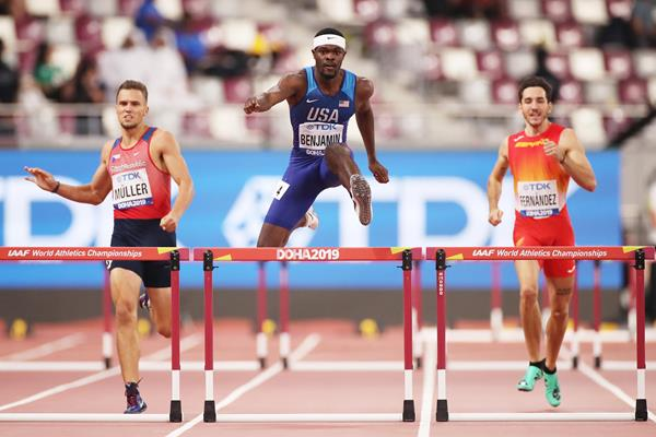 Rai Benjamin in opening round of the 400m hurdles at the IAAF World Athletics Championships Doha 2019 (Getty Images)