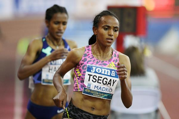Gudaf Tsegay on her way to winning the 3000m at the World Athletics Indoor Tour Gold meeting in Madrid (Getty Images)