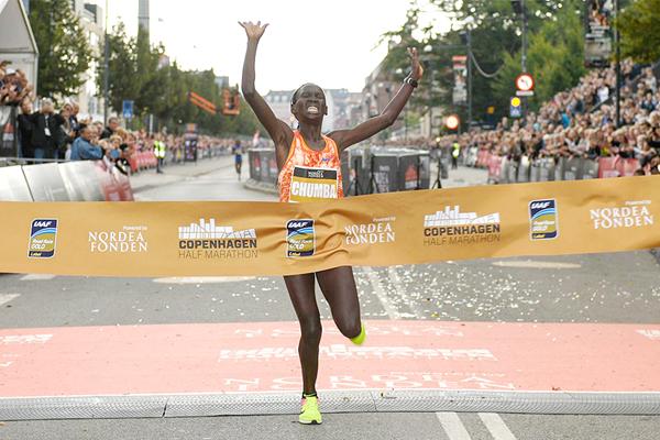 Eunice Chumba wins the Copenhagen Half Marathon (Organisers)