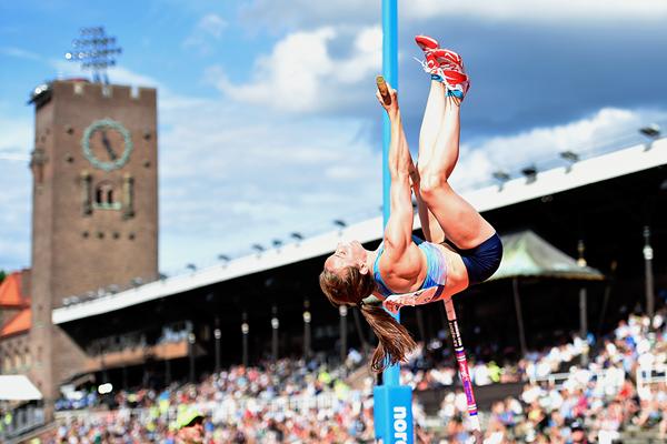 Nicole Buchler, winner of the pole vault at the IAAF Diamond League meeting in Stockholm (Hasse Sjogren)