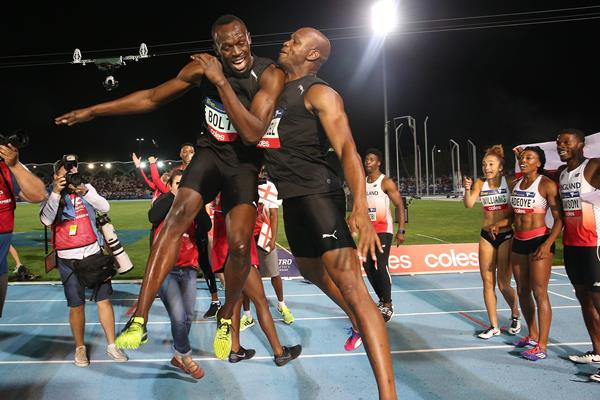 Usain Bolt and Asafa Powell celebrate the Bolt All-Star's victory in Melbourne (Getty Images)