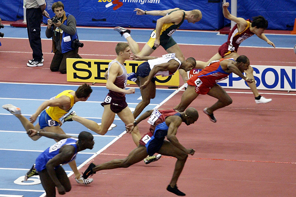 Allen Johnson wins the 60m hurdles from Anier Garcia and Liu Xiang at the 2003 IAAF World Indoor Championships in Birmingham (Getty Images)