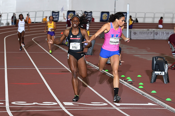 Sydney McLaughlin wins the 400m at the SEC Indoor Championships (Errol Anderson)