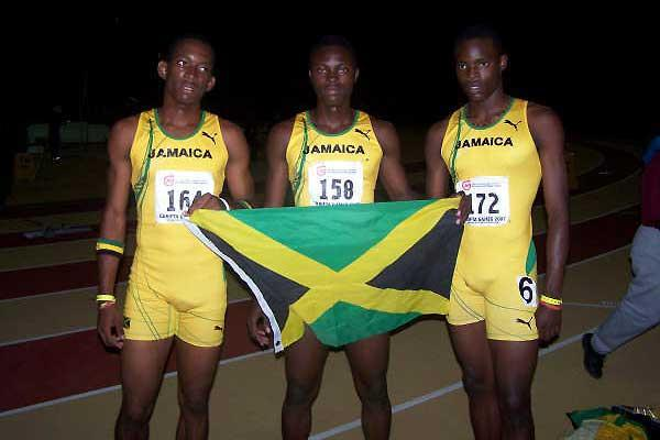 Three members of Jamaica's U17, 4x100m team - Dwayne Exrol, Jermaine Brown, Dexter Lee (Kirchner Dolcy)