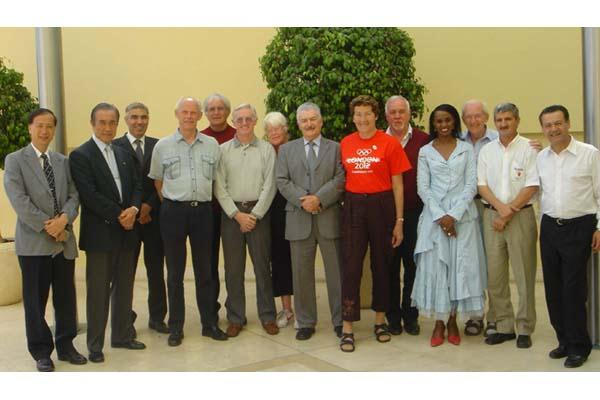 Masters' Committee meeting on 16 May 2005 in Vila Real de Santo Antonio, Portugal – IAAF General Secretary Istvan Gyulai (3rd from left), Torsten Carlius (4th from left), Masters' Committee Chairman and IAAF Council Member Cesar Moreno Bravo (centre - 8th (IAAF/WMA)