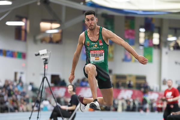 Pablo Torrijos, winner of the triple jump at the World Athletics Indoor Tour meeting in Boston (Victah Sailer)