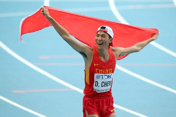 Chen Ding after taking the silver medal in the men's 20km Race Walk at the IAAF World Athletics Championships Moscow 2013 (Getty Images)