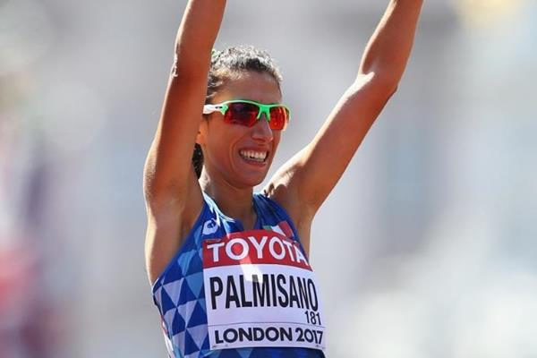Antonella Palmisano after taking the 20km race walk bronze medal at the IAAF World Championships London 2017 (Getty Images)