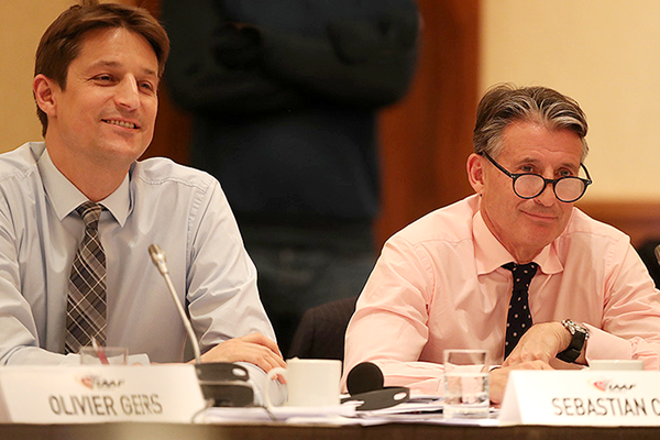 IAAF CEO Olivier Gers and IAAF President Sebastian Coe at the 209th IAAF Council Meeting in London (Chris Lee / IAAF)